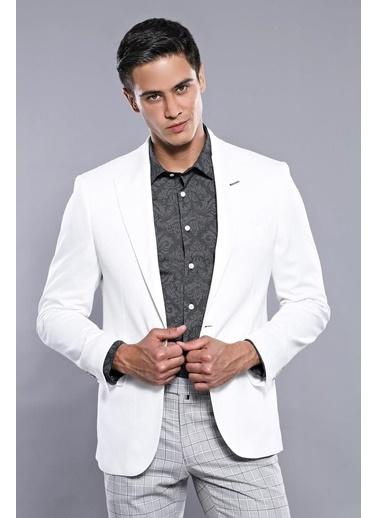 Wessi Erkek Sivri Yaka Slim Fit Ceket Beyaz